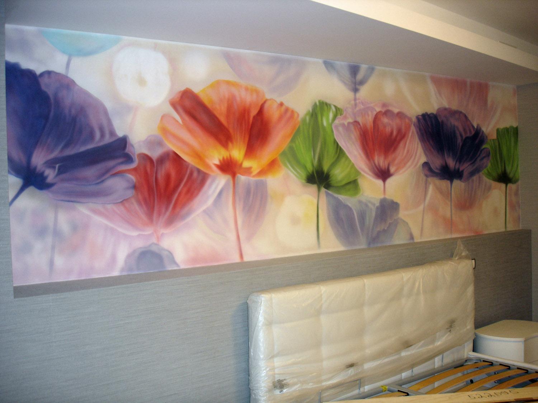 Роспись цветами на стенах фото